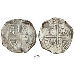 Potosi, Bolivia, cob 8 reales, (16)29T, denomination 8, fine-dot borders.