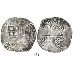 Potosi, Bolivia, cob 8 reales, (16)44, assayer not visible, rare.