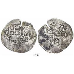 Potosi, Bolivia, cob 8 reales, (1650-1)O, with crown-alone (rare) countermark on cross.