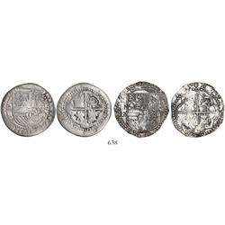 Lot of 2 Potosi, Bolivia, cob 4 reales of Philip II, assayers M (rare) and B (3rd period).