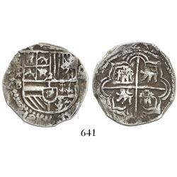 Potosi, Bolivia, cob 4 reales, Philip II, assayer B (5th period), border of x's on reverse only.