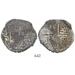 Potosi, Bolivia, cob 4 reales, Philip III, assayer M, unique variant with mintmark-assayer as P-O-M.
