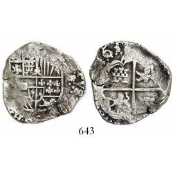 Potosi, Bolivia, cob 4 reales, 1631T, rare.