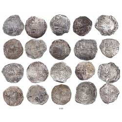 Lot of 10 Potosi, Bolivia, cob 4 reales, Philip III and IV, assayers Q, M and T (all visible).