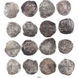 Lot of 8 Potosi, Bolivia, cob 4 reales, Philip III and IV, assayers not visible.