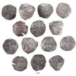 Lot of 7 Potosi, Bolivia, cob 4 reales, Philip III and IV, assayers not visible.