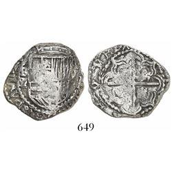 Potosi, Bolivia, cob 2 reales, Philip III, assayer M/Q, from the Atocha (1622), no tag or certificat