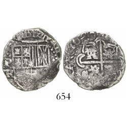 Potosi, Bolivia, cob 2 reales, 1647TR, extremely rare.