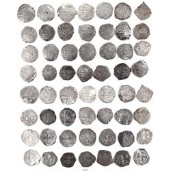 Large lot of 28 Potosi, Bolivia, cob 2 reales, Philip III and IV, various assayers (all visible).