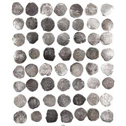 Large lot of 28 Potosi, Bolivia, cob 2 reales, Philip III and IV, assayers not visible.