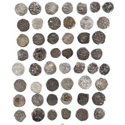 Large lot of 25 Potosi, Bolivia, cob 1R, Philip II through IV, various assayers (where visible).