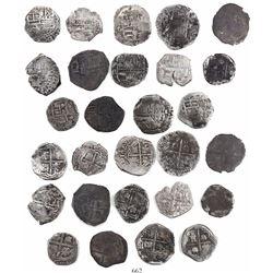 Lot of 14 Potosi, Bolivia, cob 1R, Philip III and IV, various assayers (where visible).