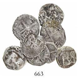 Lot of 8 Potosi, Bolivia, cob 1/2R, Philip II through IV, various assayers (where visible).