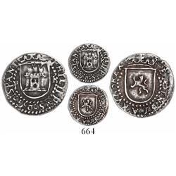 Potosi, Bolivia, cob 1/4 real, Philip II, assayer R (Rincon) to right, mintmark P to left, rare, fin