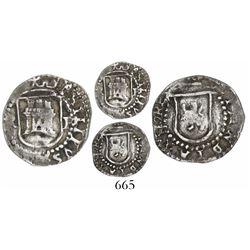 Potosi, Bolivia, cob 1/4 real, Philip II, assayer R (Rincon) to left, mintmark P to right, rare.