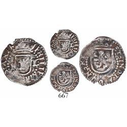 Potosi, Bolivia, cob 1/4 real, Philip II, assayer L to right, mintmark P to left, ex-Bir, very rare.