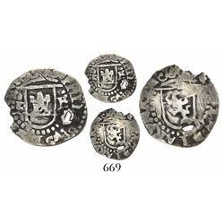 Potosi, Bolivia, cob 1/4 real, Philip II, assayer B to left (2nd period), mintmark P to right, M-sty