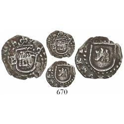 Potosi, Bolivia, cob 1/4 real, Philip II, assayer B to left (5th period), mintmark P to right, borde