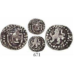 Potosi, Bolivia, cob 1/4 real, Philip III, no assayer or mintmark, large lion, very rare.