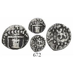 Potosi, Bolivia, cob 1/4 real, Philip III, no assayer or mintmark, small lion, no crown, very rare.