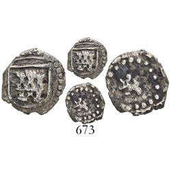 Potosi, Bolivia, cob 1/4 real, Philip IV, no assayer or mintmark, small lion, late castle, extremely