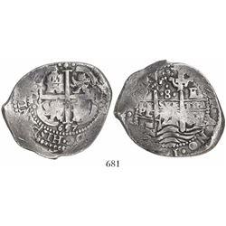 Potosi, Bolivia, cob 8 reales, 1657E, pomegranate at top.