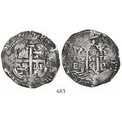 Potosi, Bolivia, cob 8 reales, 1658E, pomegranate at top.
