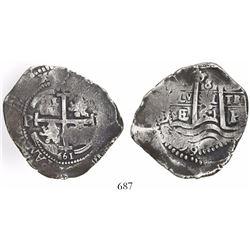 Potosi, Bolivia, cob 8 reales, 1661E.