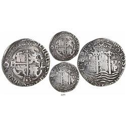Potosi, Bolivia, cob 8 reales Royal, 1663E, rare.