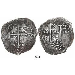 Potosi, Bolivia, cob 8 reales, 1668E.