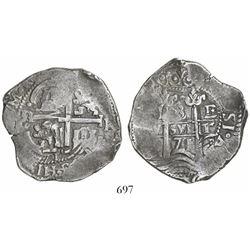 Potosi, Bolivia, cob 8 reales, 1671/0E, rare.