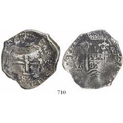 Potosi, Bolivia, cob 8 reales, 1687/5VR, rare overdate.
