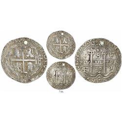 Potosi, Bolivia, cob 8 reales Royal, 1698F.