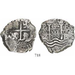 Potosi, Bolivia, cob 8 reales, 1700F.