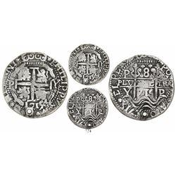 Potosi, Bolivia, cob 8 reales Royal, 1715/4Y (unique), variety with clover shapes around denominatio
