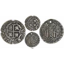 Potosi, Bolivia, cob 8 reales Royal, 1727Y, Louis I, very rare, encapsulated NGC XF details / holed.