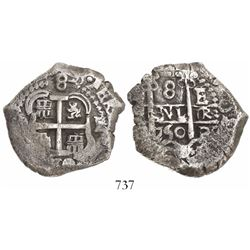 Potosi, Bolivia, cob 8 reales, 1750E/q, rare.