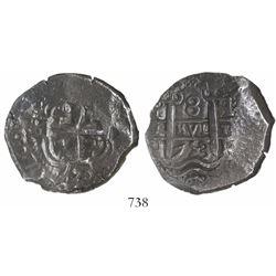 Potosi, Bolivia, cob 8 reales, 1753q, encapsulated NGC AU 50.