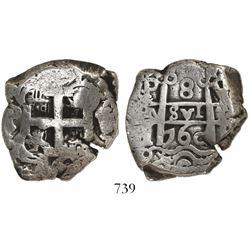Potosi, Bolivia, cob 8 reales, 1760Y-q-V, unique (unlisted).