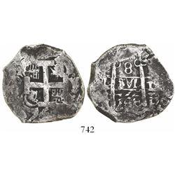 Potosi, Bolivia, cob 8 reales, 1768Y-V-Y, rare (unlisted).