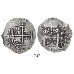 Potosi, Bolivia, cob 4 reales, 1653E, PH at top, rotated denomination 4, ex-Capitana.