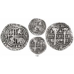 Potosi, Bolivia, cob 4 reales Royal, 1654E, •PH• at top, extremely rare (unlisted).