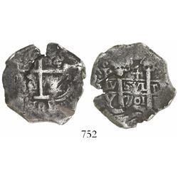 Potosi, Bolivia, cob 4 reales, 1701Y, rare.