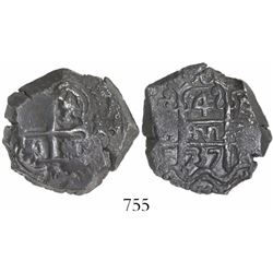 Potosi, Bolivia, cob 4 reales, 1737E.