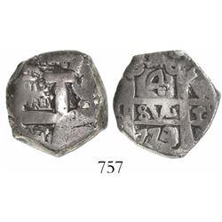 Potosi, Bolivia, cob 4 reales, 1773V-(Y), rare final year of cobs.
