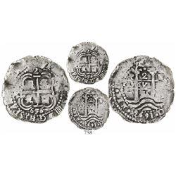 Potosi, Bolivia, cob 2 reales quasi-Royal, 1656E, • at top.