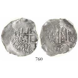 Potosi, Bolivia, cob 2 reales, 1658E, encapsulated AU 53.