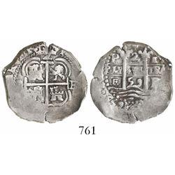 Potosi, Bolivia, cob 2 reales, 1659E.