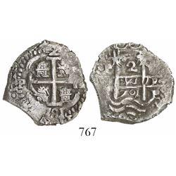 Potosi, Bolivia, cob 2 reales, 1701Y, Charles II (posthumous).