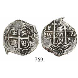 Potosi, Bolivia, cob 2 reales, 1721Y.
